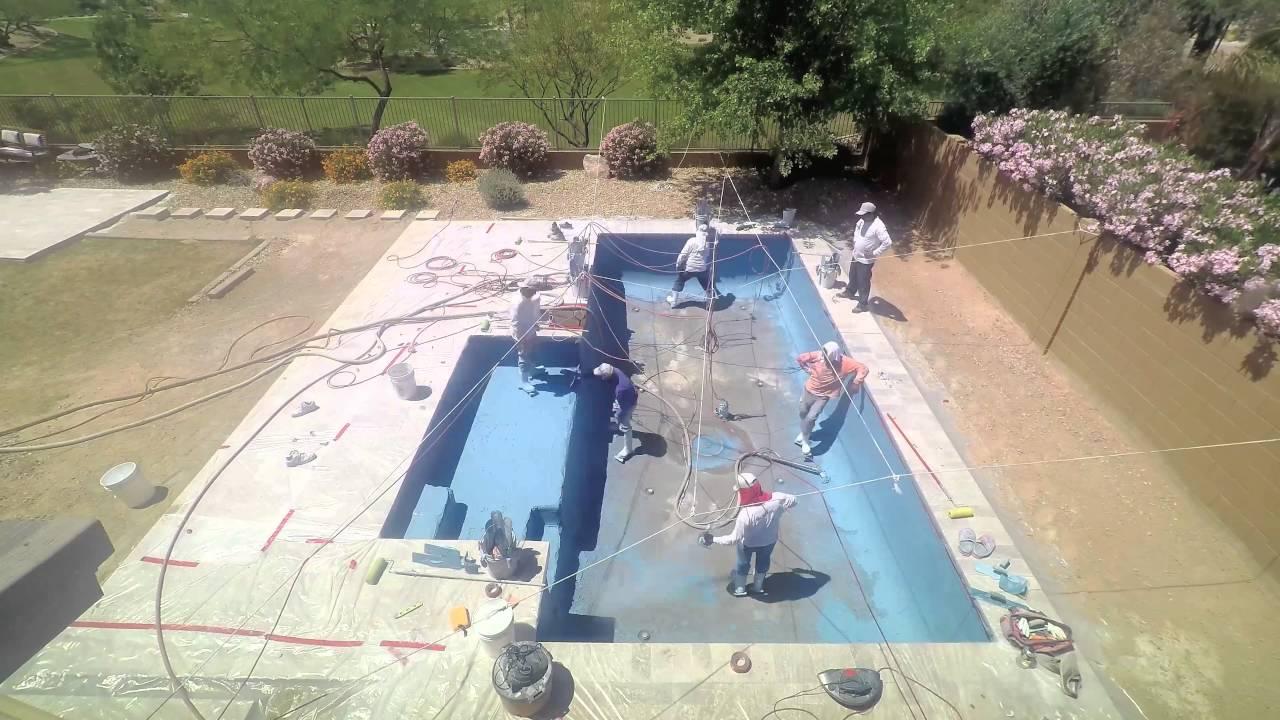 Kraemer Pool Pebble Tec (Pool Interior) Installation - YouTube
