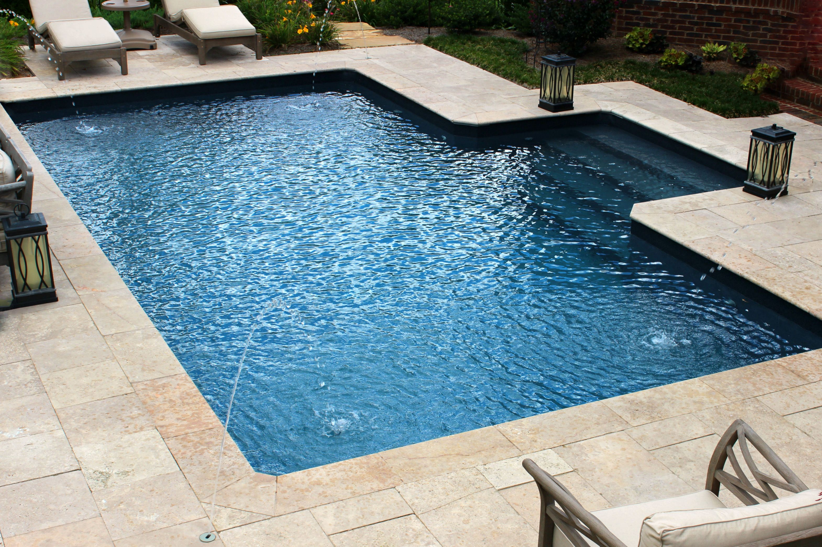 Deep blue, vinyl liner pool, simple design, stair entry, with deck ...