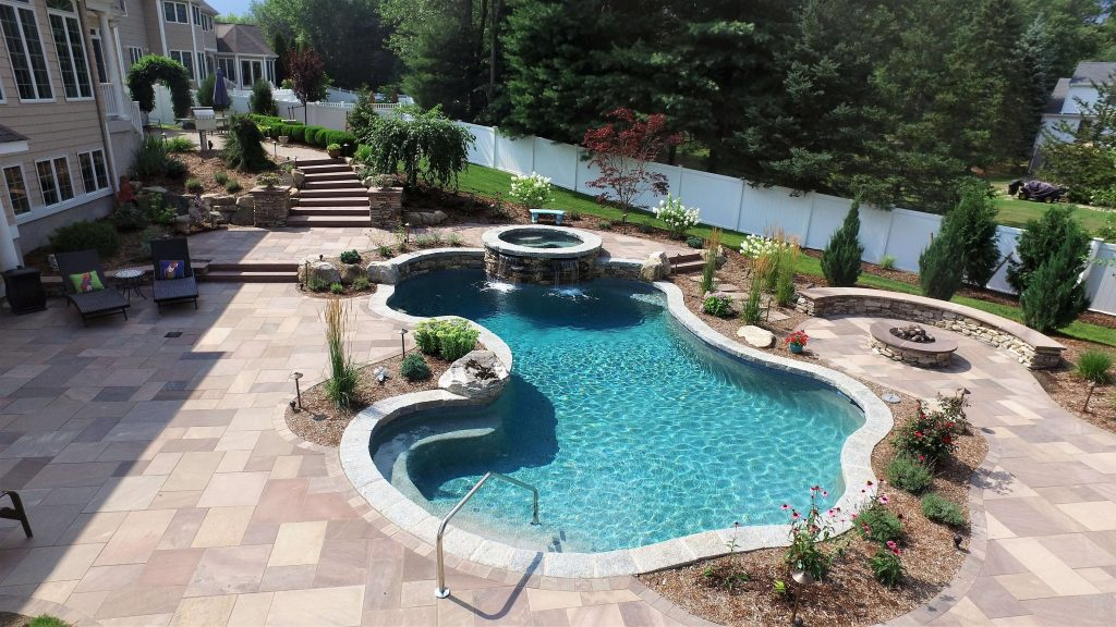 Modern Built-In Underground Rectangle Pool Design - 14x28 Pool Size Fenced In Backyard