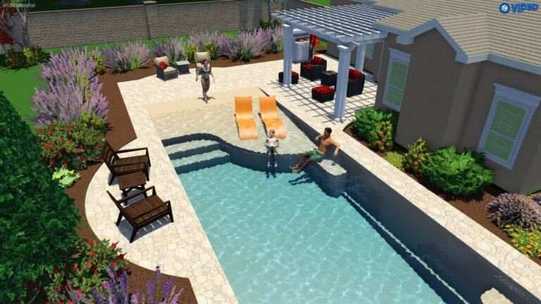 Perfect example of a beach entry fiberglass pool by Thursday Pools