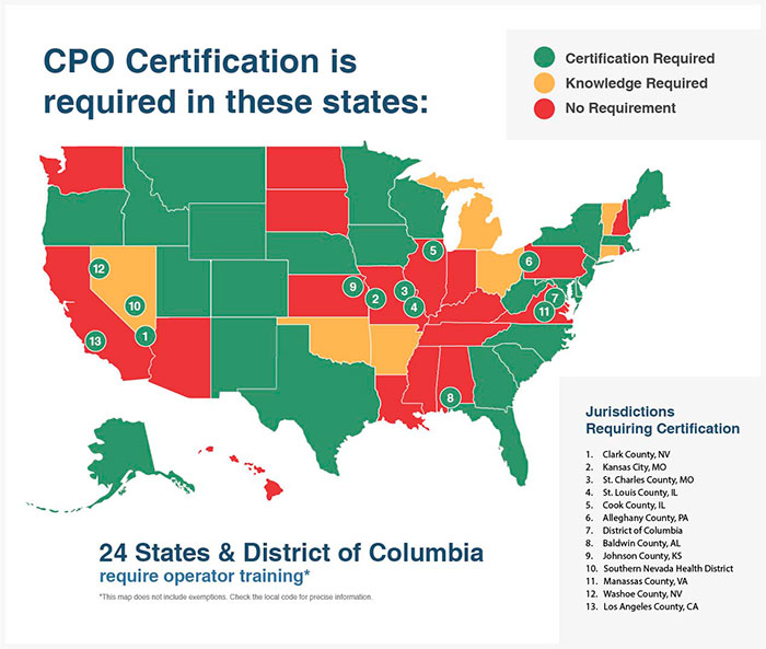 States where CPO Certification is required
